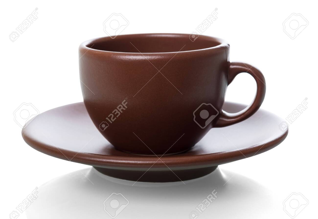 Cup and saucer for aromatic morning coffee, isolated on white background - 142039454