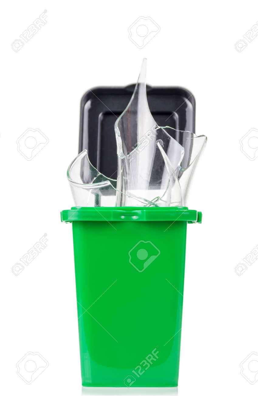Household waste sorting concept. Green tank with glass waste isolated on white background - 164071602