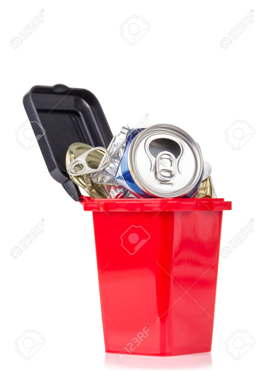 Red trash can and metal household waste isolated on white background - 164071606