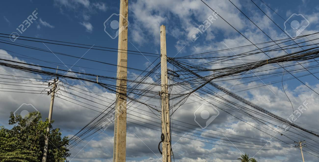 Electric Poles And Wires In Cambodia Street Stock Photo, Picture And ...