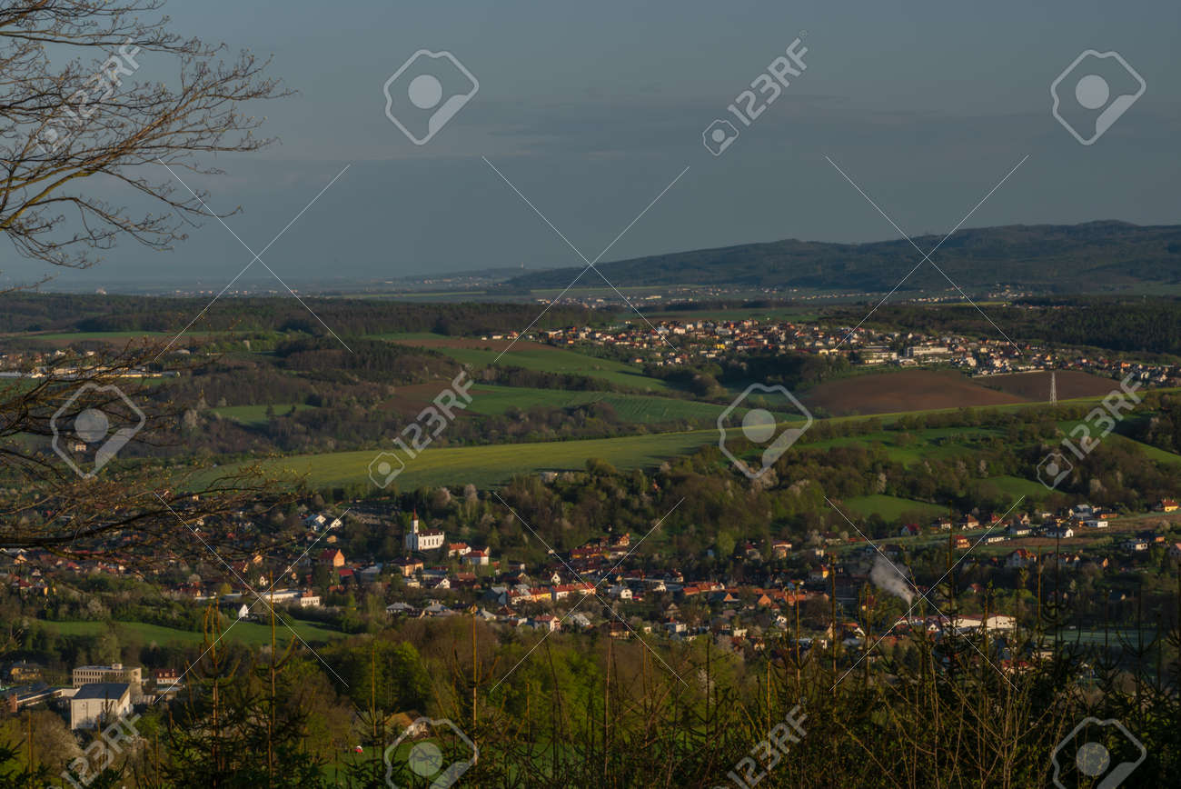 Nice meadows over Vizovice town with sunrise and fresh color air in east Moravia - 169616506