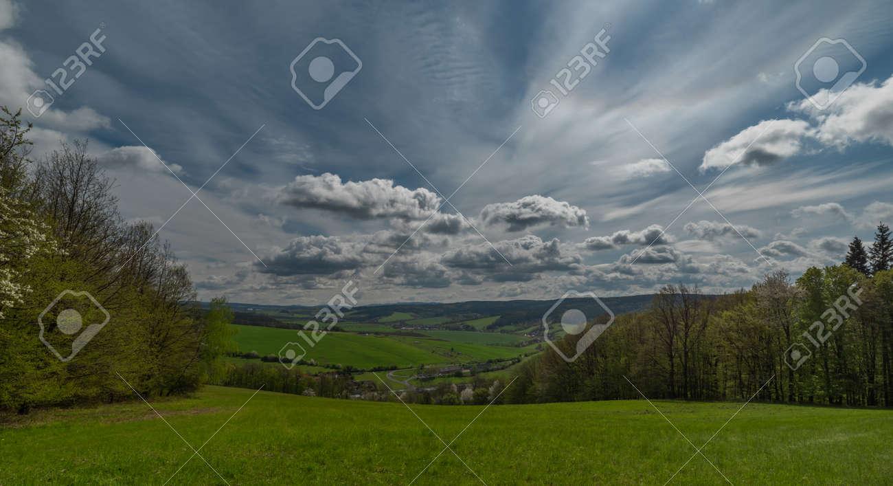 Meadows near Horni Lhota village in fresh spring sunny day in east Moravia - 169616523