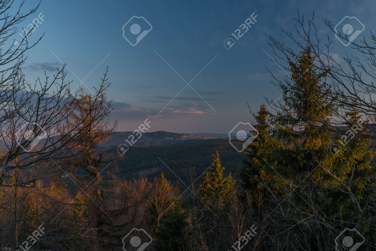 Sunset view from Bukovec hill with blue sky and orange color sun - 169616790