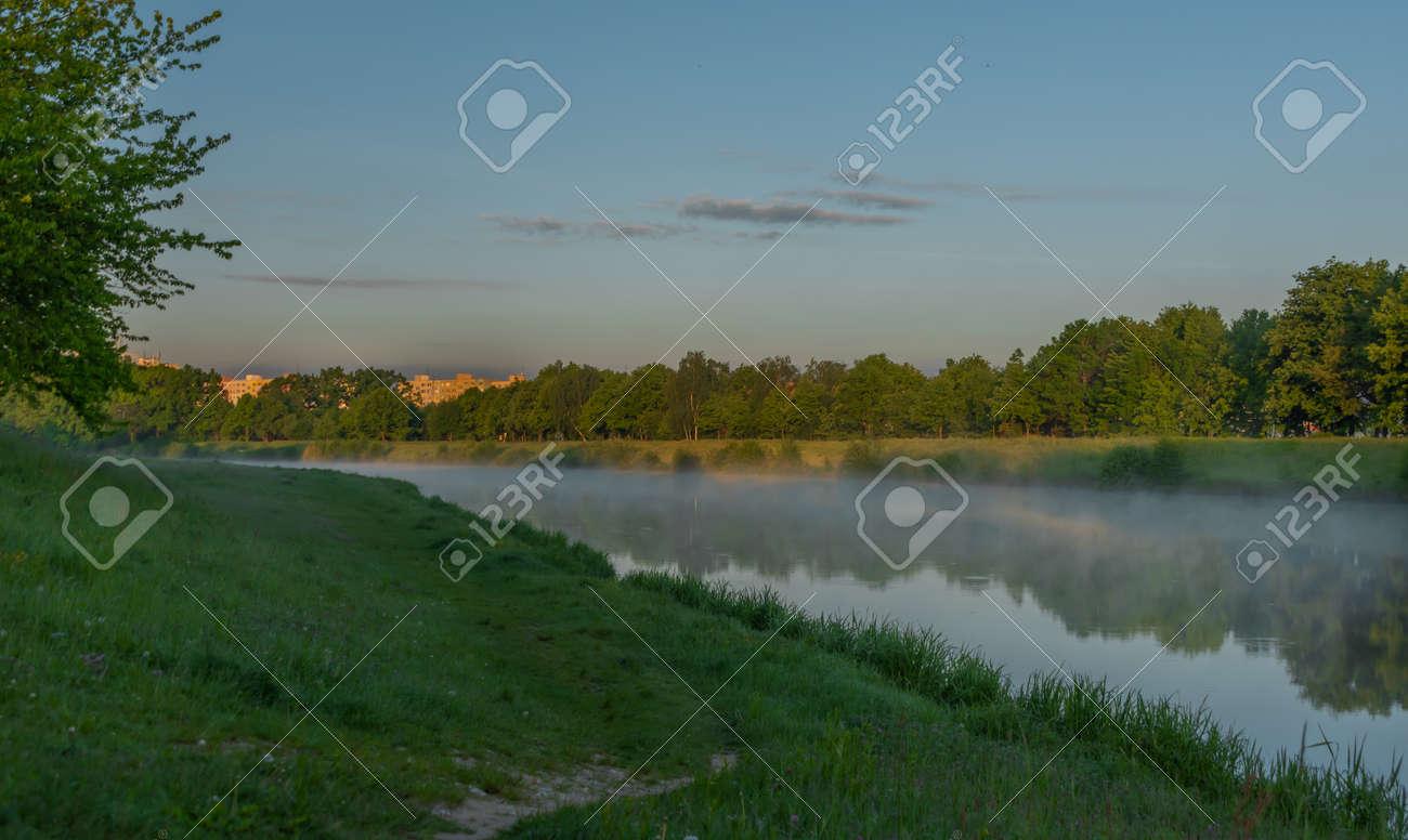 Vltava river near Budweis city in south Bohemia in sunrise fresh morning - 169616812