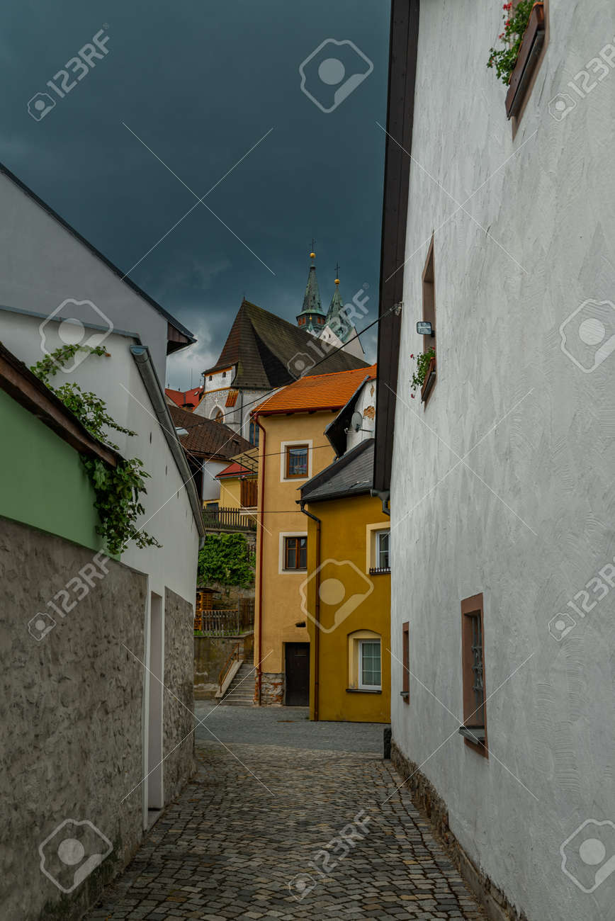 Old historic houses in Vimperk town in spring color fresh rainy day - 170004814