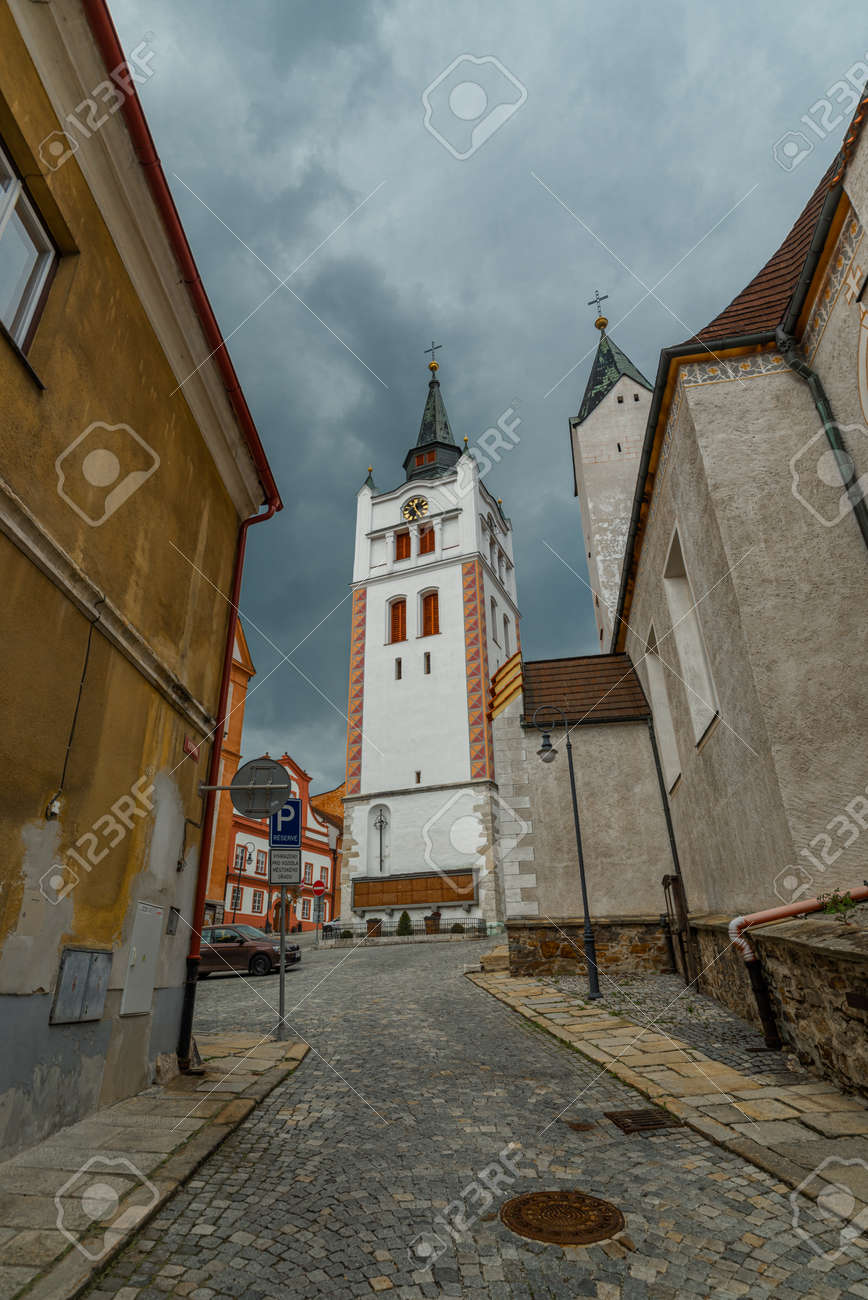 Old historic houses in Vimperk town in spring color fresh rainy day - 170005130
