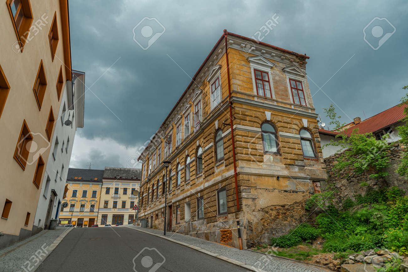 Old historic houses in Vimperk town in spring color fresh rainy day - 170005046