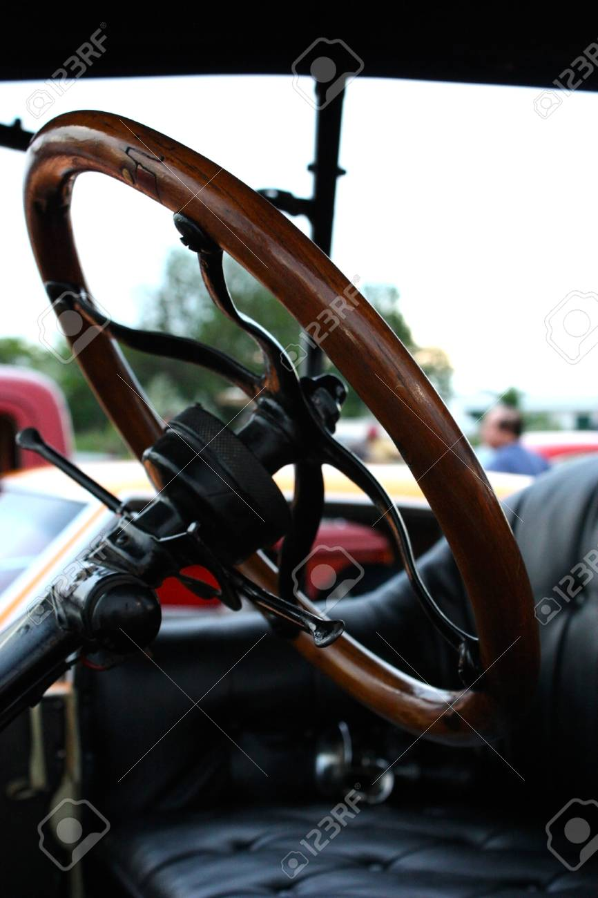 Toronto Canada June 5 2010 Close Up Shot Of A Wooden Steering