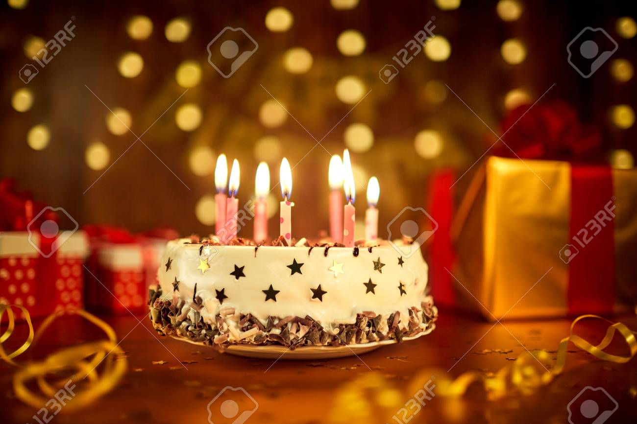 Awesome Happy Birthday Cake With Candles On The Background Of Garlands Funny Birthday Cards Online Elaedamsfinfo