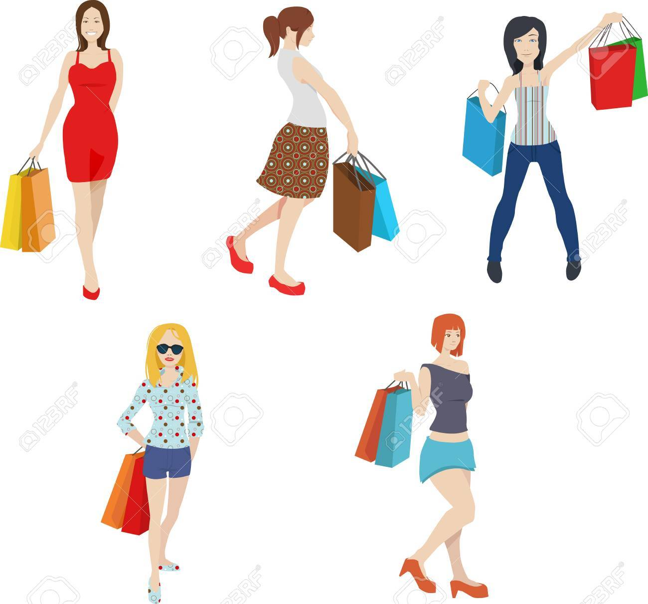 shopping women clip art fashionable trendy girl clipart royalty rh 123rf com african american woman shopping clipart black woman shopping clipart