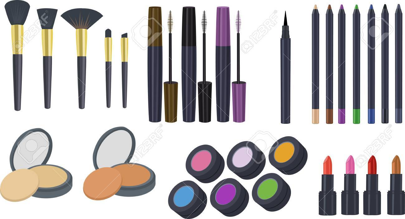 cosmetics clipart makeup clipart clipart set of eyeshadow brush rh 123rf com makeup clip art silhouette makeup clip art free