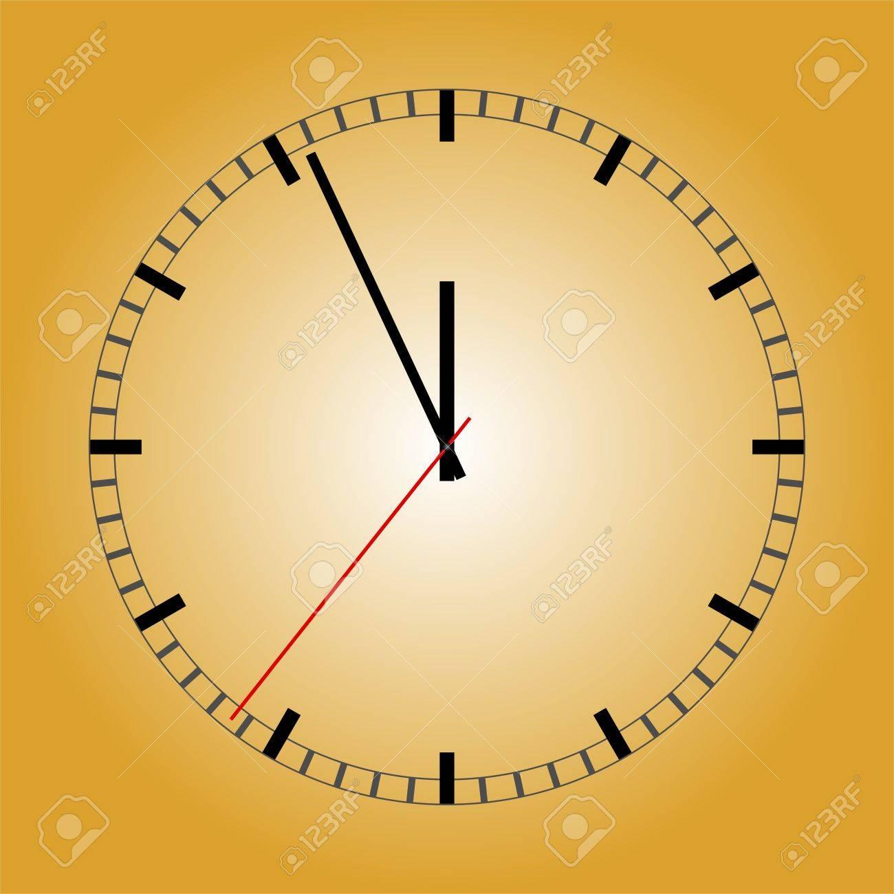 d35e5291802b Reloj De Pared De Oro Con Una Esfera De Color Negro Y Un Rectángulo Negro  De Los Círculos De Color Negro Con Las Manos Negras Y Un Segundero Rojo  Sobre Un ...