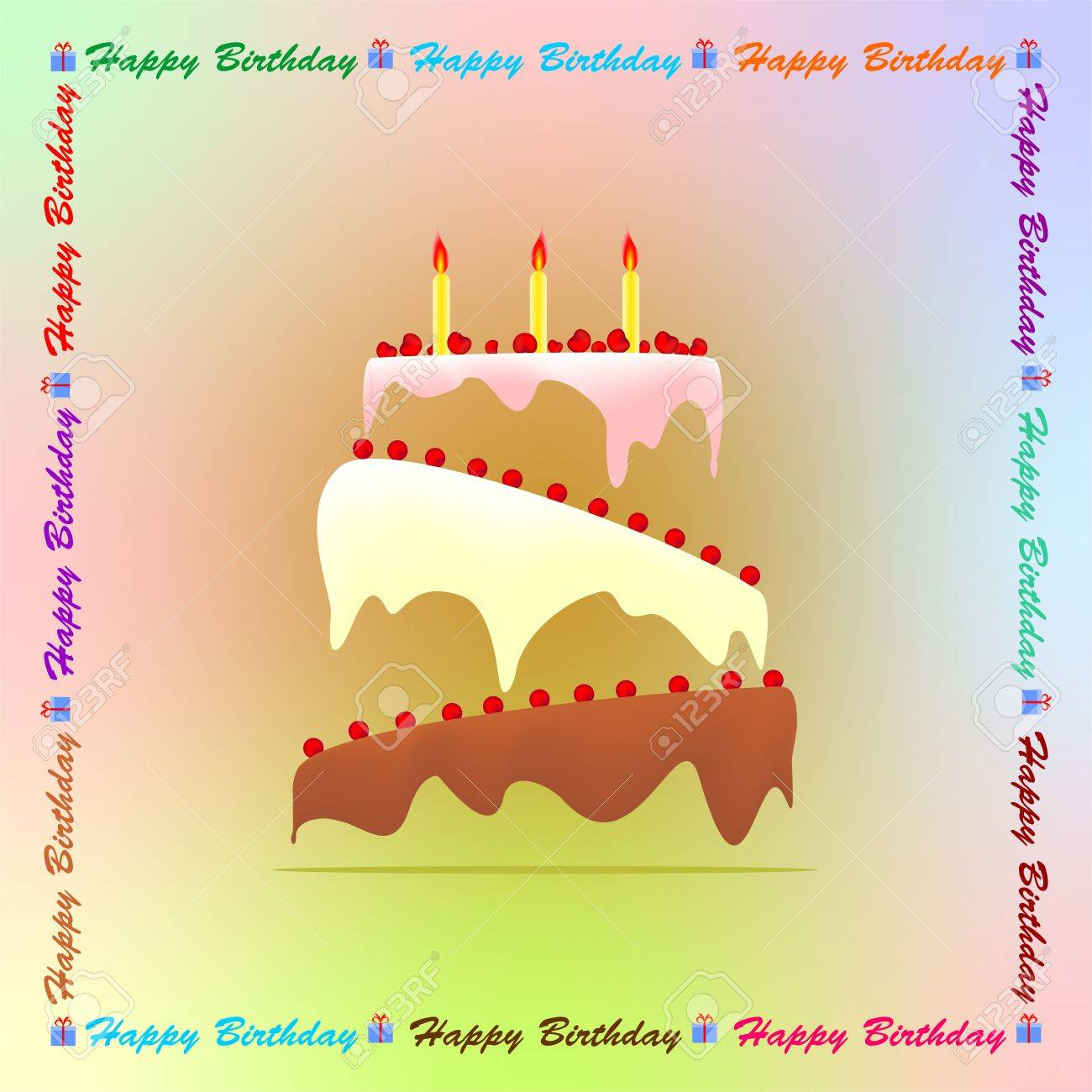 Colored Birthday Greeting With A Birthday Cake With Colored Frosting