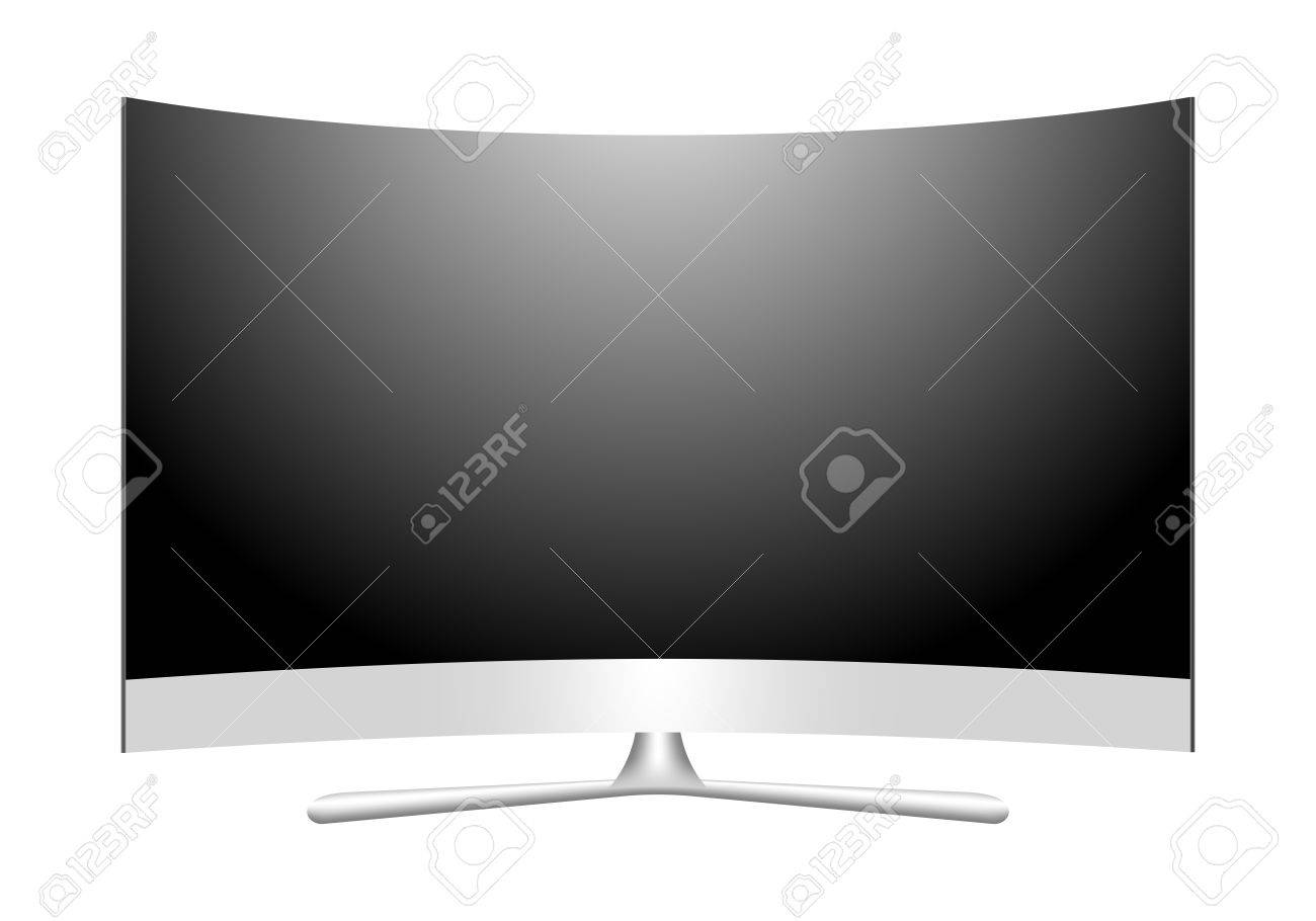 Front View Modern 3d Plasma Tv With A Curved Screen Off Multimedia Royalty Free Cliparts Vectors And Stock Illustration Image 66326306