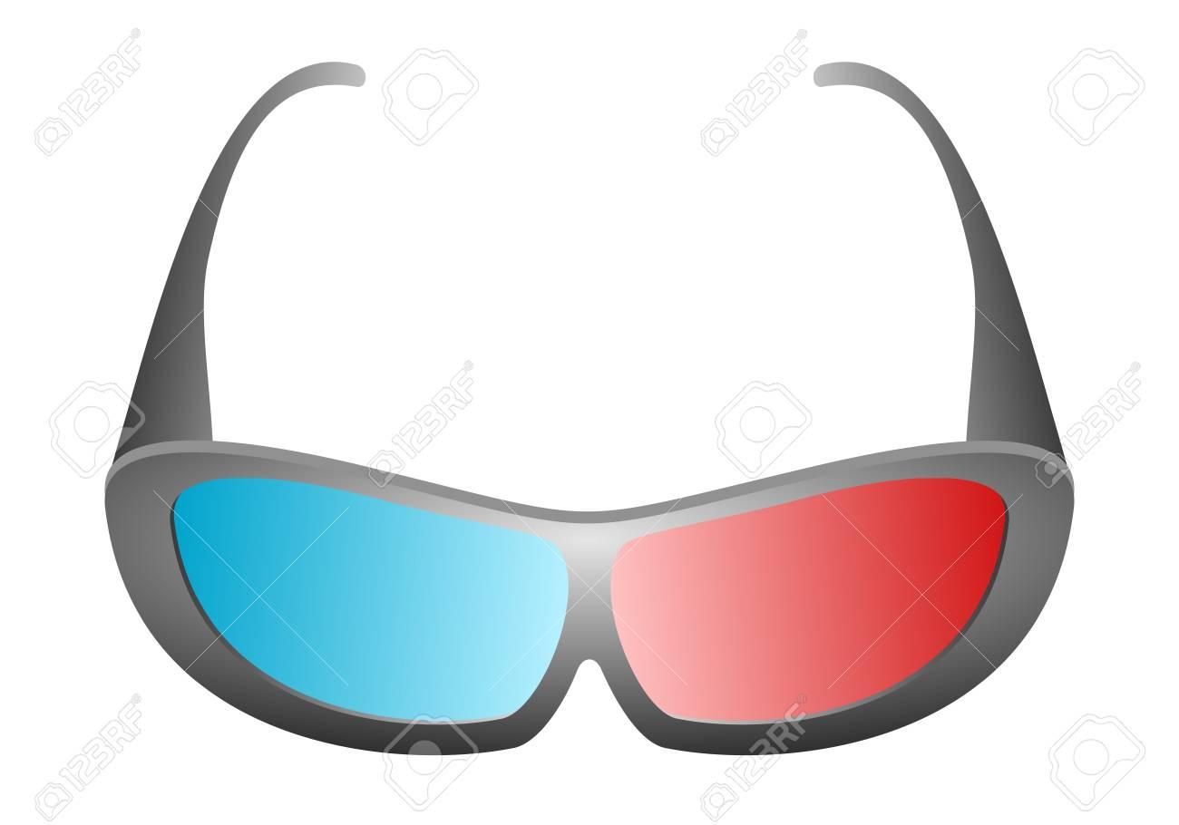 Banque d images - Vue de face de conception noire des lunettes de cinéma 3D  pour le cinéma et la télévision 3D avec le verre bleu et rouge sur un fond  blanc eb0a5106c7e4