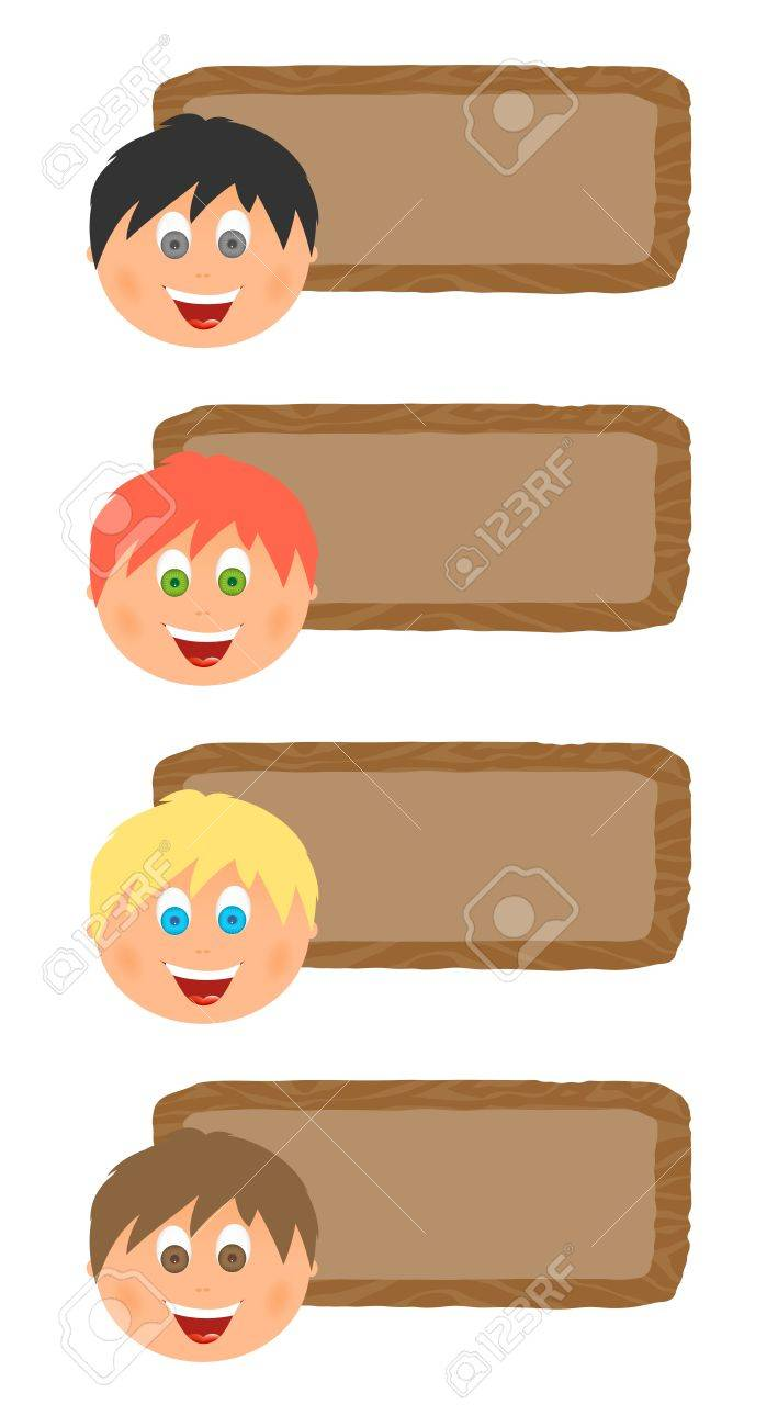Wooden Childrens Name Tags With Boys Faces With Different Hair
