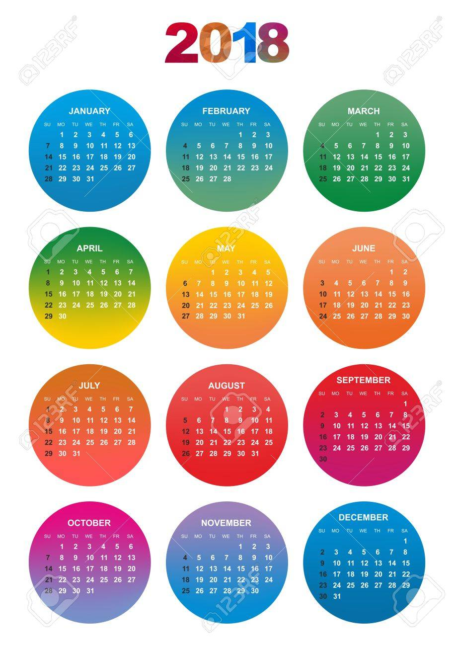Simple Color Calendar For The Year 2018. The Names Of Days And ...