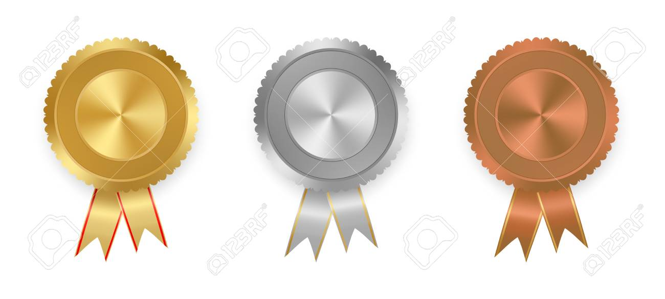 set of vector labels gold silver and bronze with ribbons with