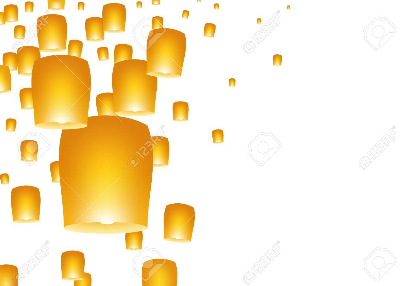 White Background With Yellow Lights And Flying Chinese Lucky Royalty Free Cliparts Vectors And Stock Illustration Image 87295653
