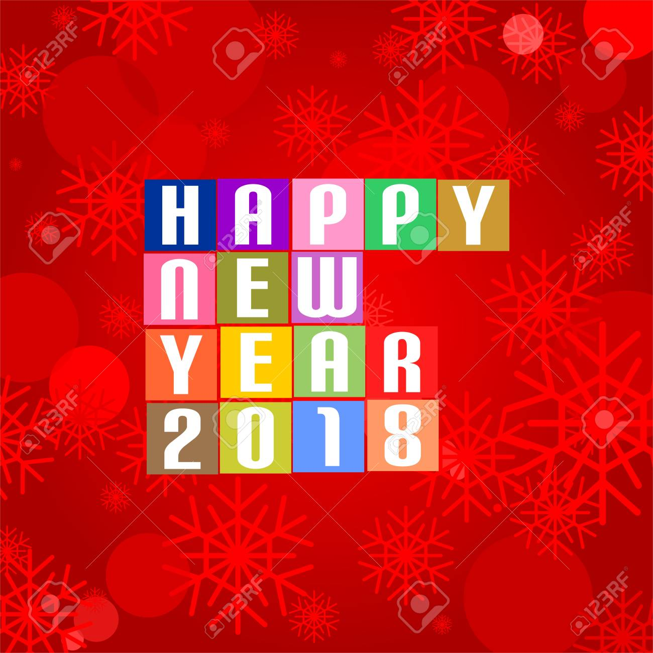 New year greetings for 2018 with white lettering happy new year new year greetings for 2018 with white lettering happy new year 2018 on the colored squares kristyandbryce Choice Image
