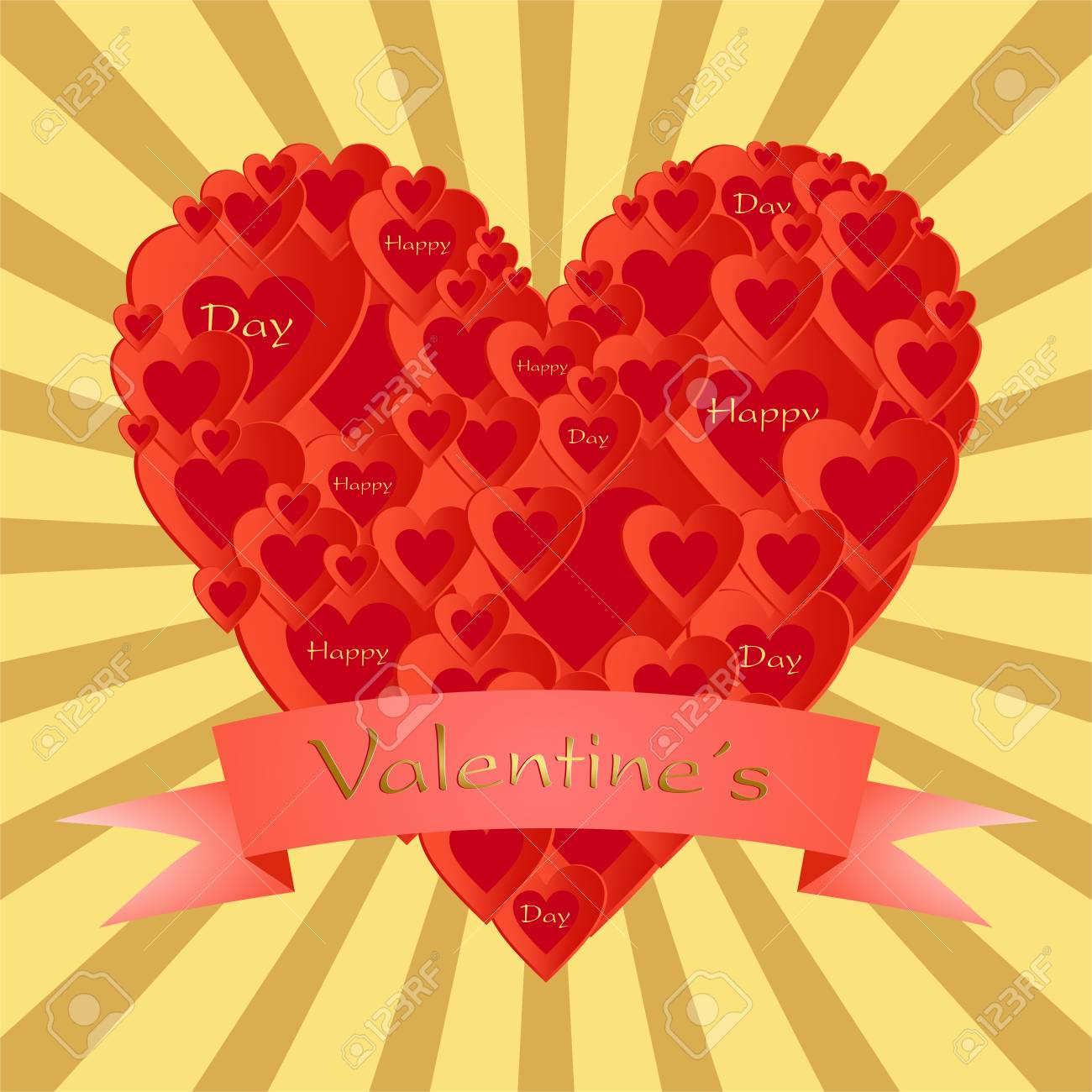 Gold Valentine Greeting With A Heart Composed Of Small Red Hearts