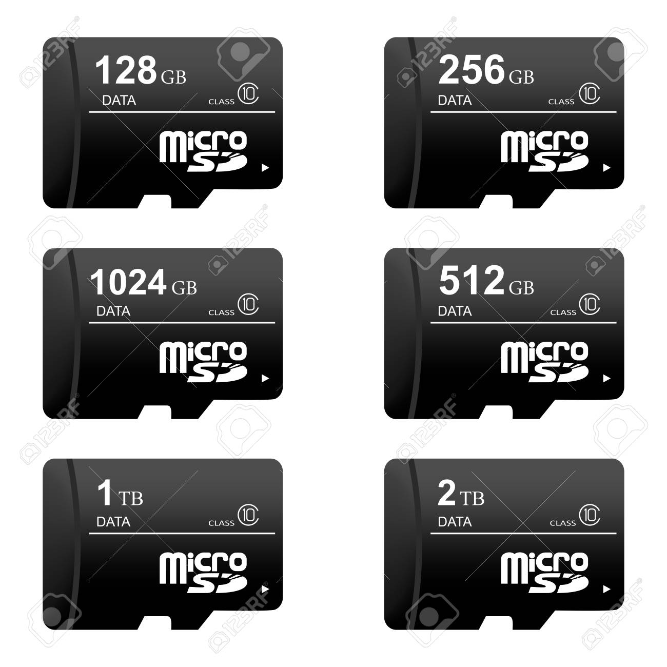 Sd Card Sizes >> Set Of Black Digital Sd Memory Cards Of Different Sizes On A