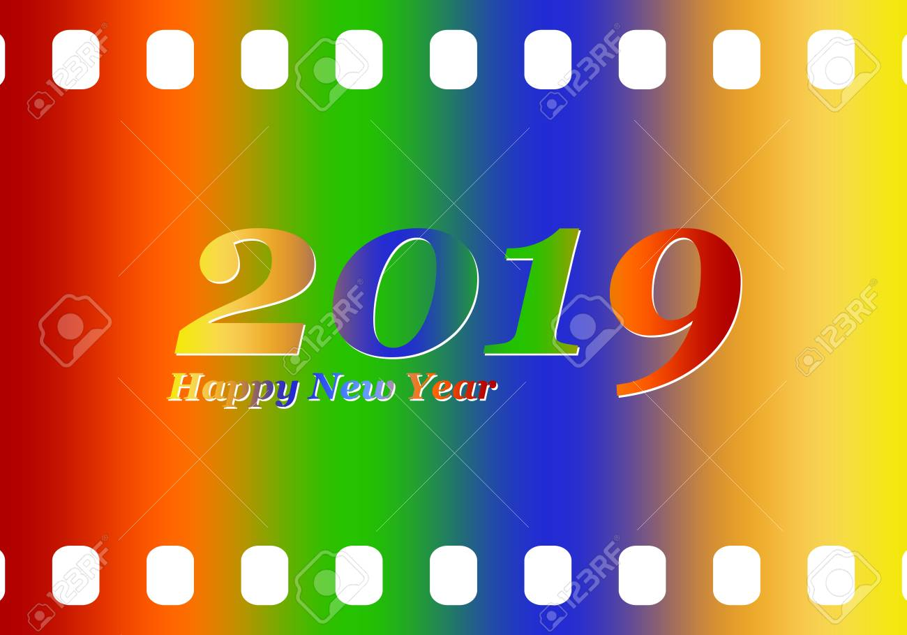 New Year Greetings For 2019 With Colorful Blank Film And