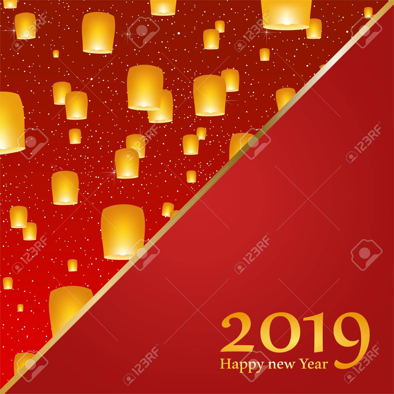 new year greetings for year 2019 with bright red background with glowing stars with yellow lights
