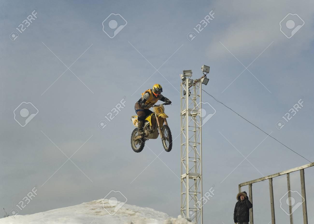 MOSCOW - FEBRUARY 28: Unrecognised sportsman on a second tour of motocross of Red Racing Group club on February 28, 2010 in Moscow, Krilatskoe, Russia Stock Photo - 9073802