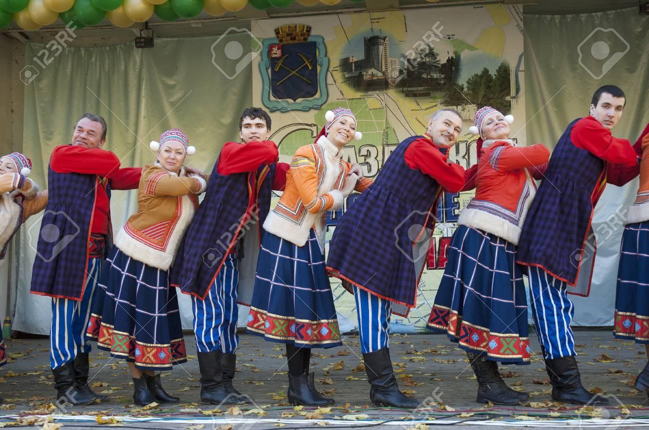 PODOLSK - OCTOBER 7  Russian folk ansamble of dance Rainbow dance  on event of day of Podolsk on October 7, 2012, Podolsk, Russia Stock Photo - 15986556