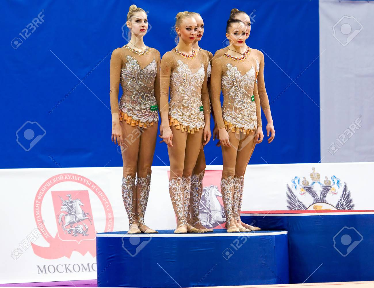MOSCOW, RUSSIA - FEBRUARY 20, 2016: Russian team on podium on