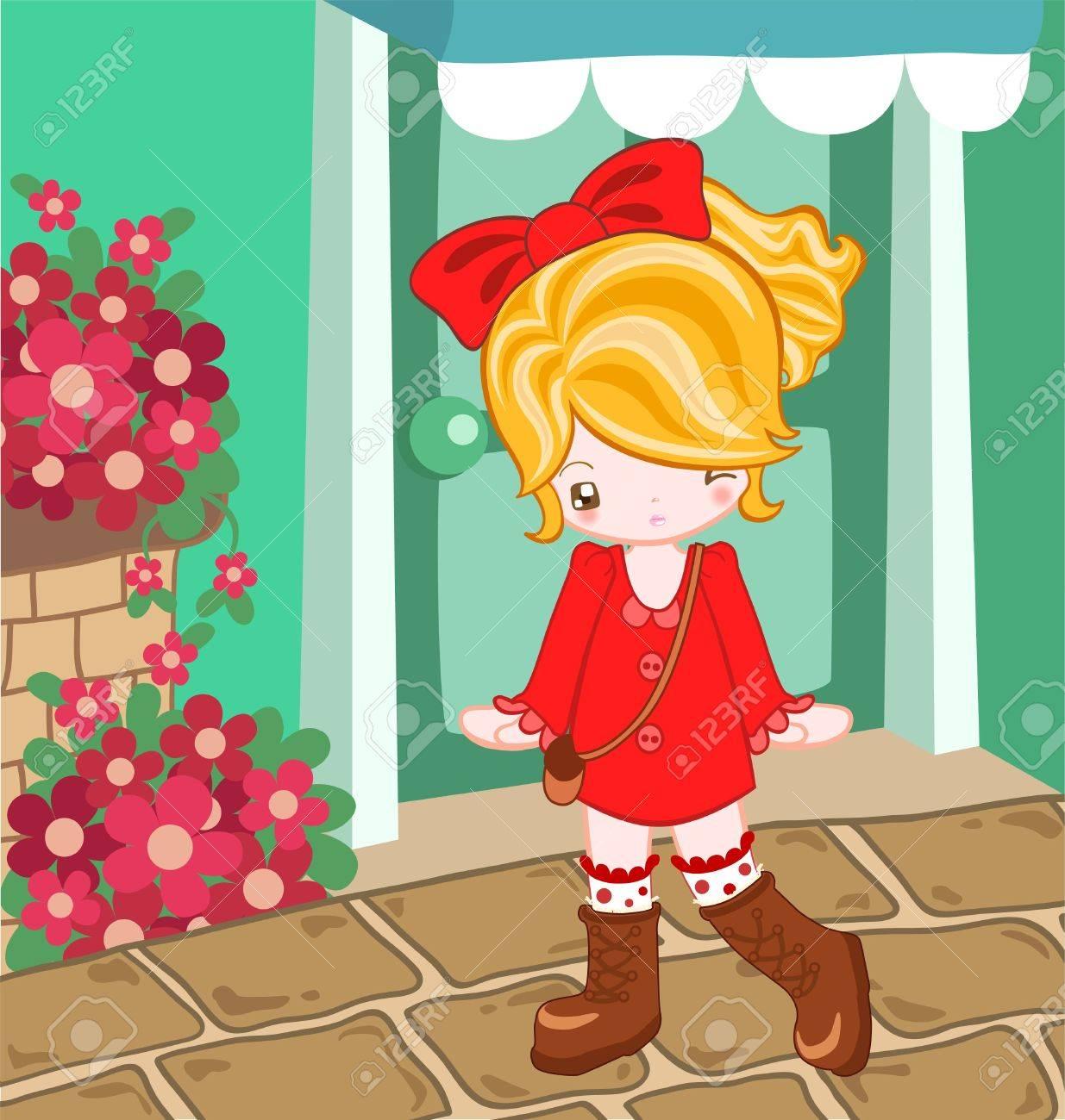 赤いドレスでドレスアップかわいい女の子のイラスト