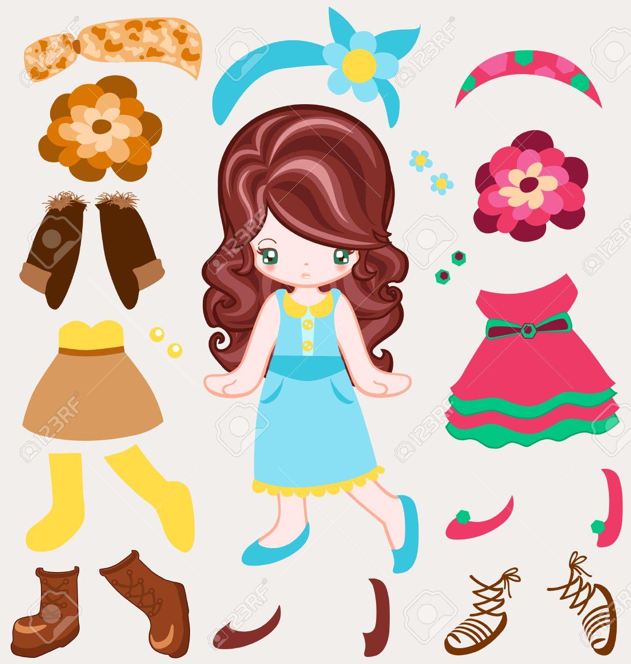 Dress up for girl - Illustration Of Girl Dressing Up Vintage Style Stock Vector 17005123