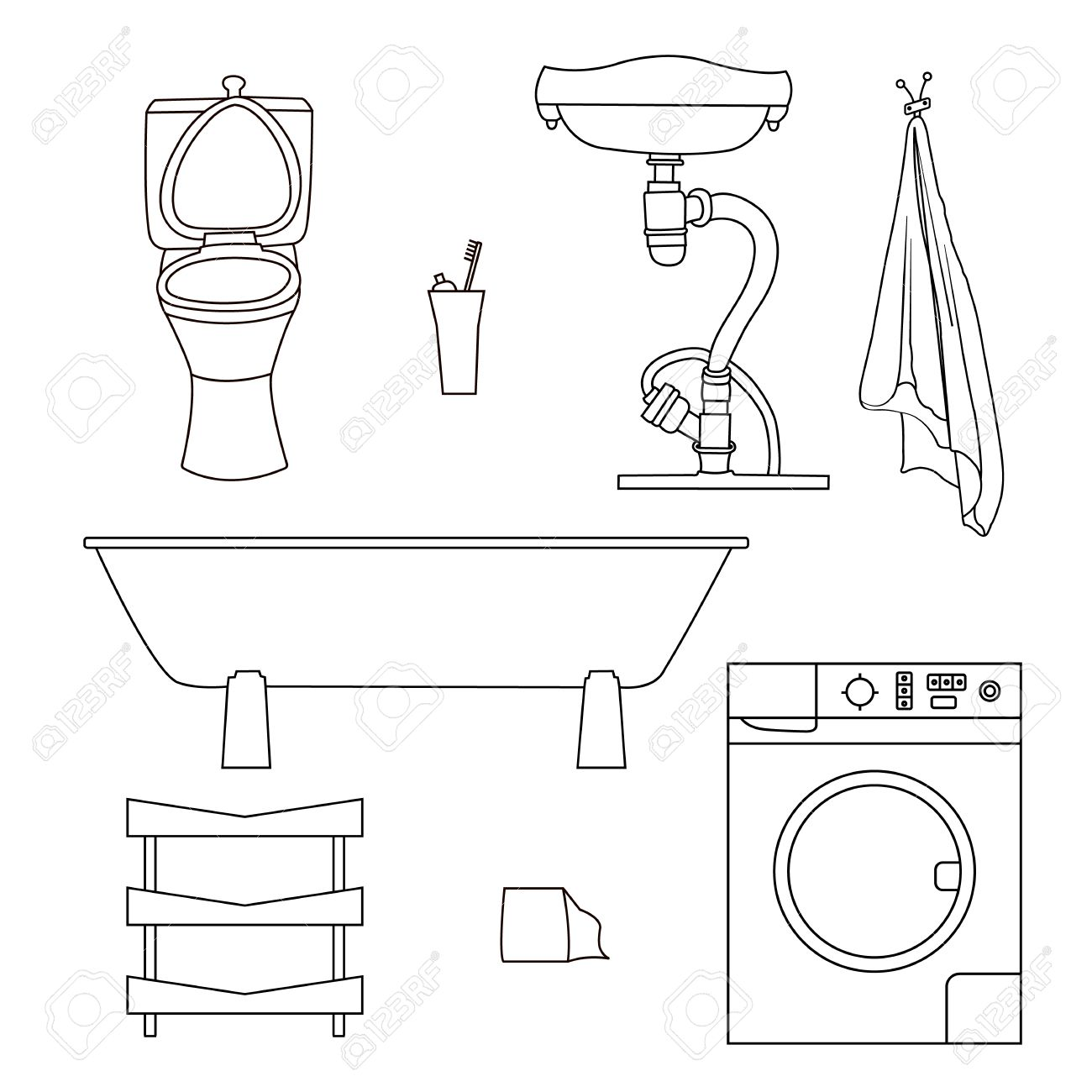 Set Drawn Sketches Of Bathroom Items. Objects For Painting Isolated On  White Background Sink,