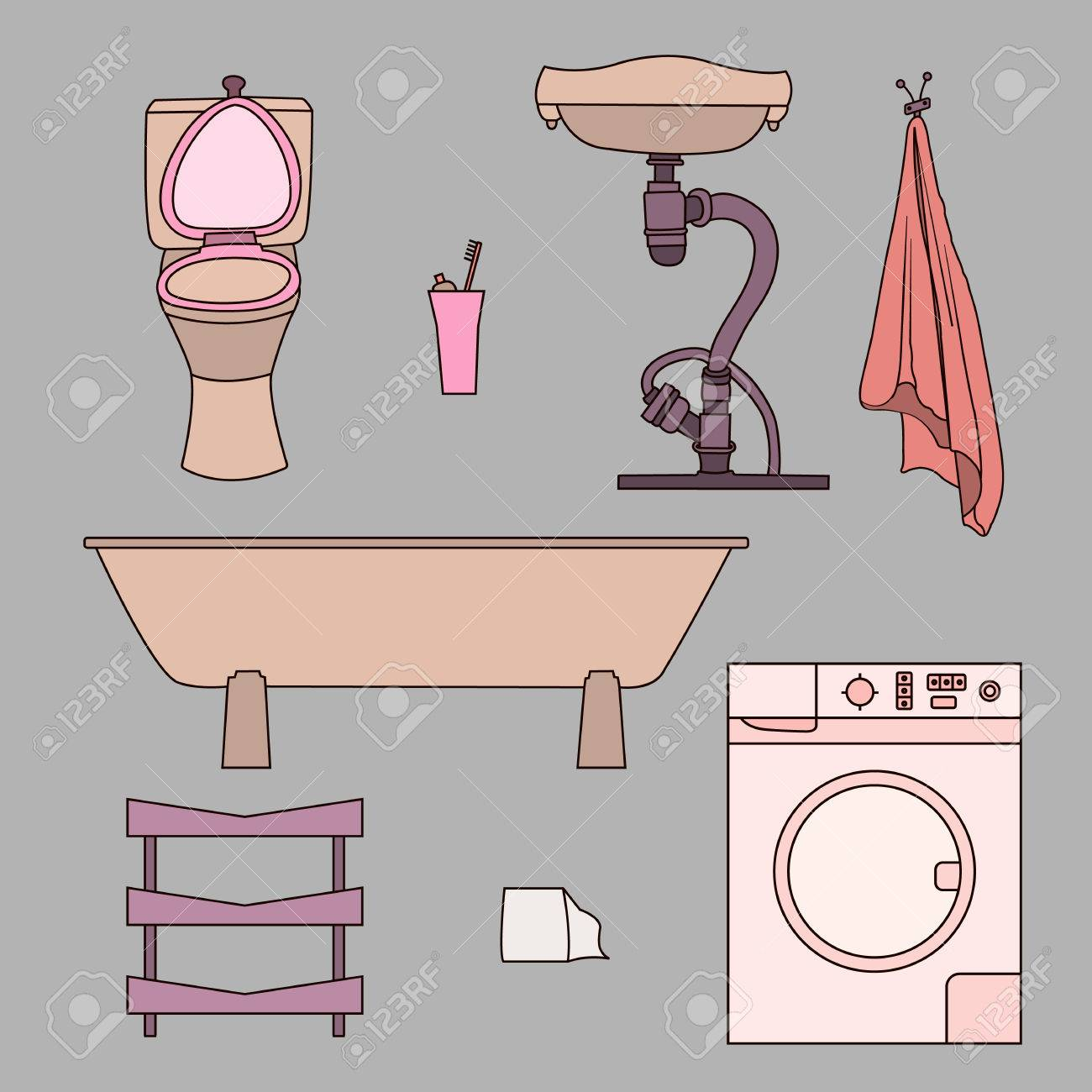 Set Of Drawn Doodles Of Bathroom Items Objects Isolated On Gray
