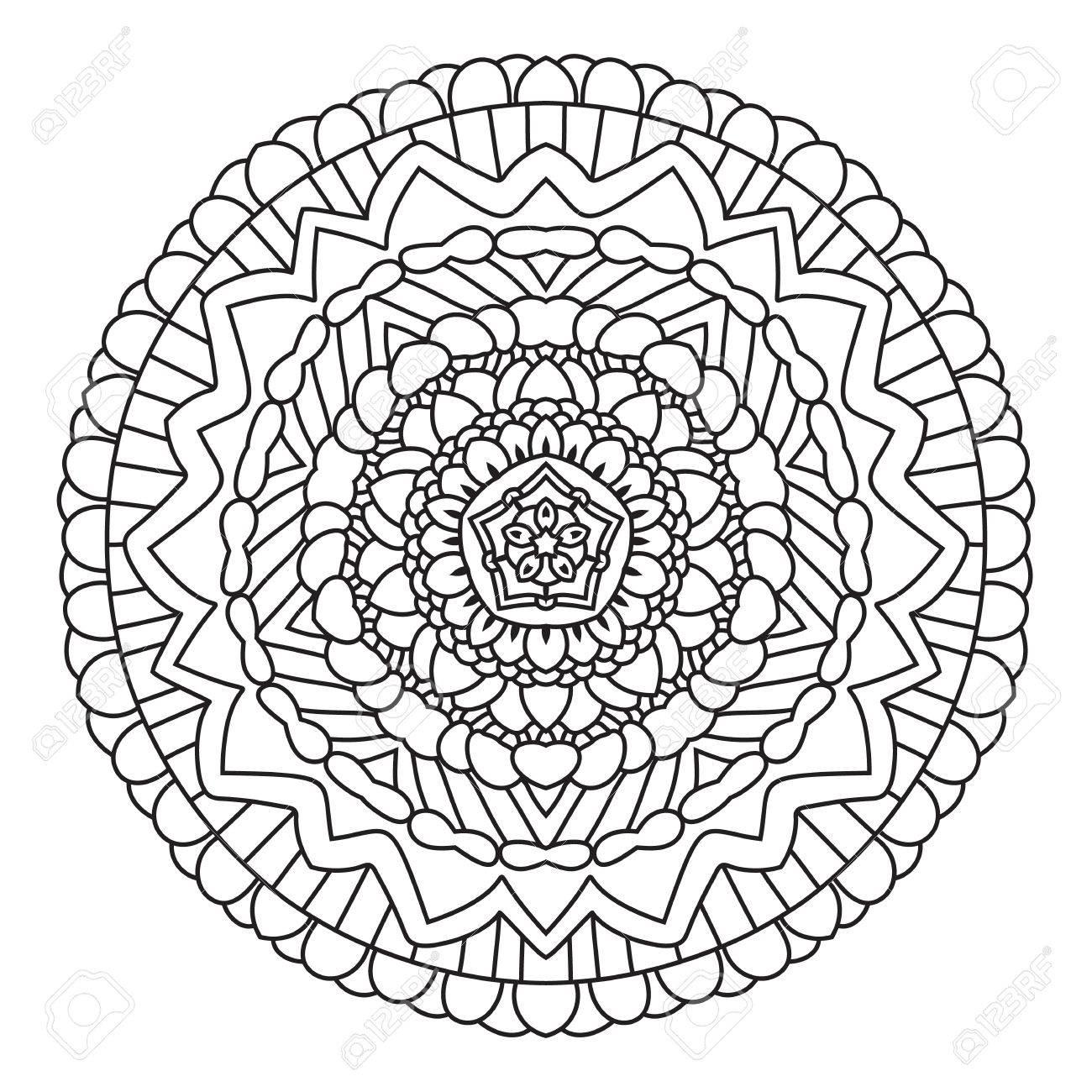 Circular Patrón étnica Simétrica. Mandala Para Colorear Aislado