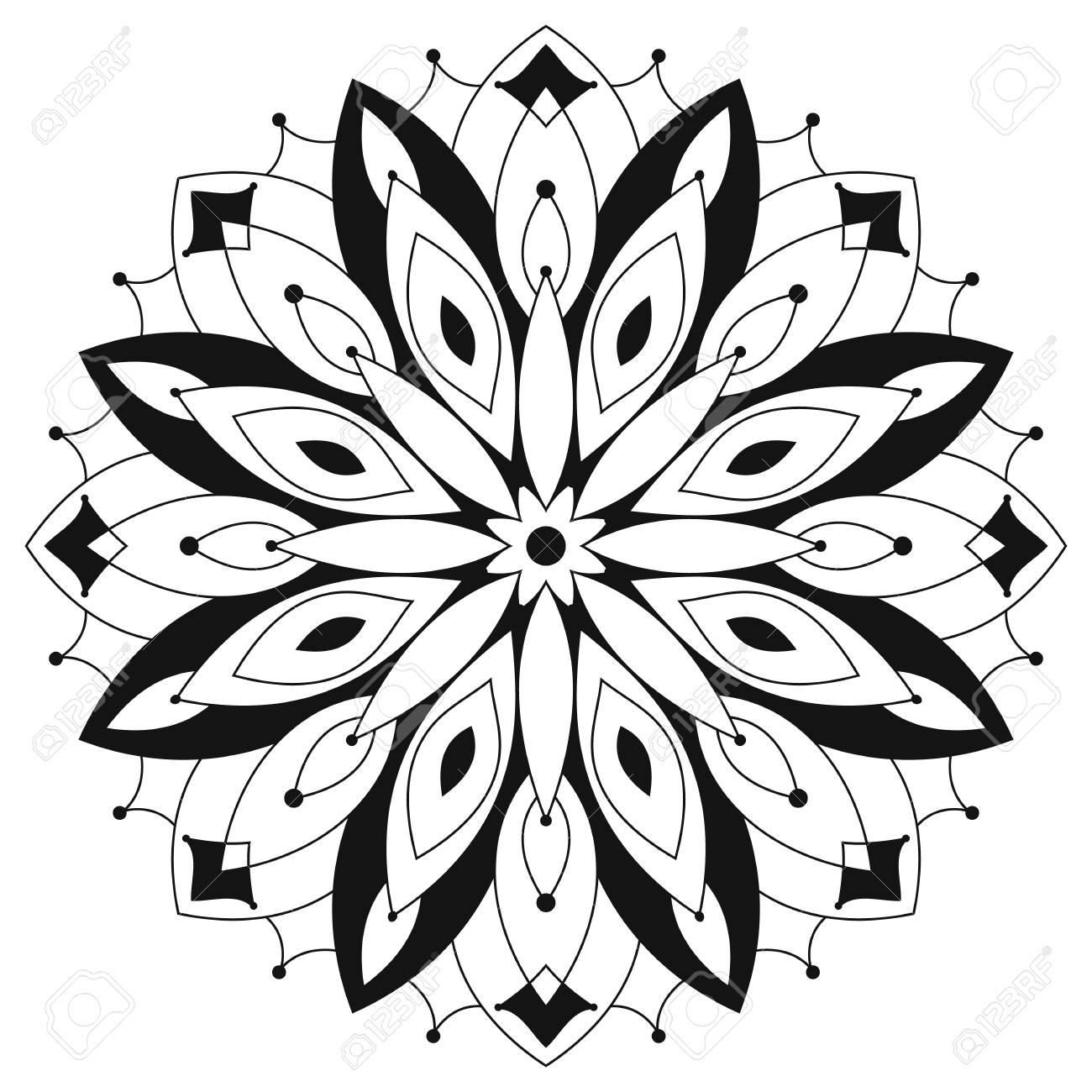 Est Mandala Tour Ethnique. Coloriage Pour Les Adultes. Motif ...