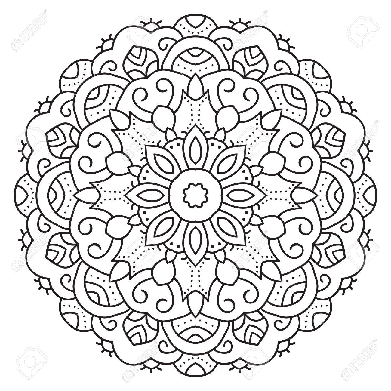 Simétrica Mandala Patrón Circular. Modelo Oriental Decorativo