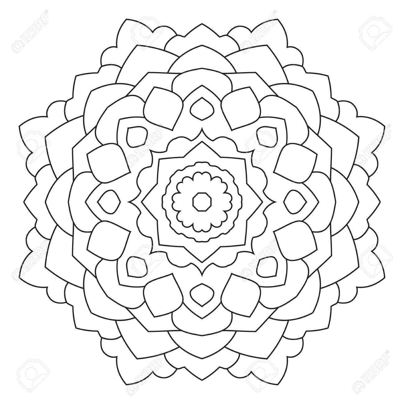 symmetrical circular pattern mandala decorative oriental pattern coloring page for adults stock vector