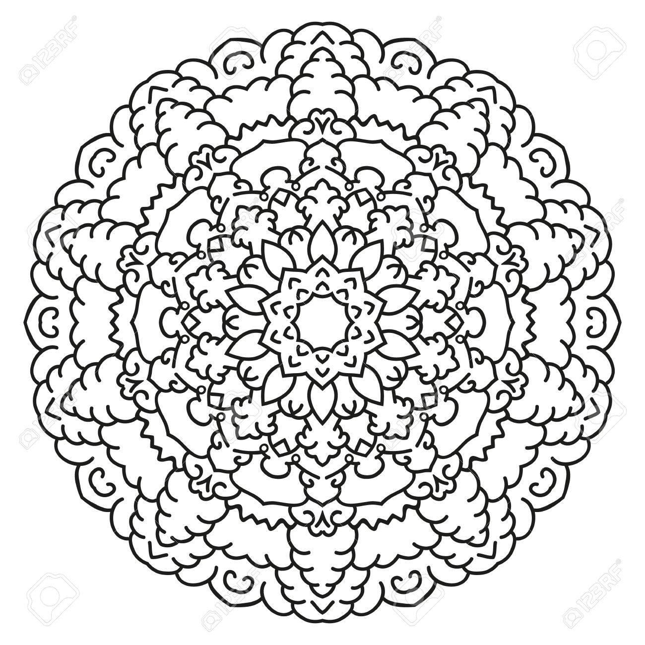 Symmetrical Circular Pattern Mandala. Decorative Oriental Pattern ...