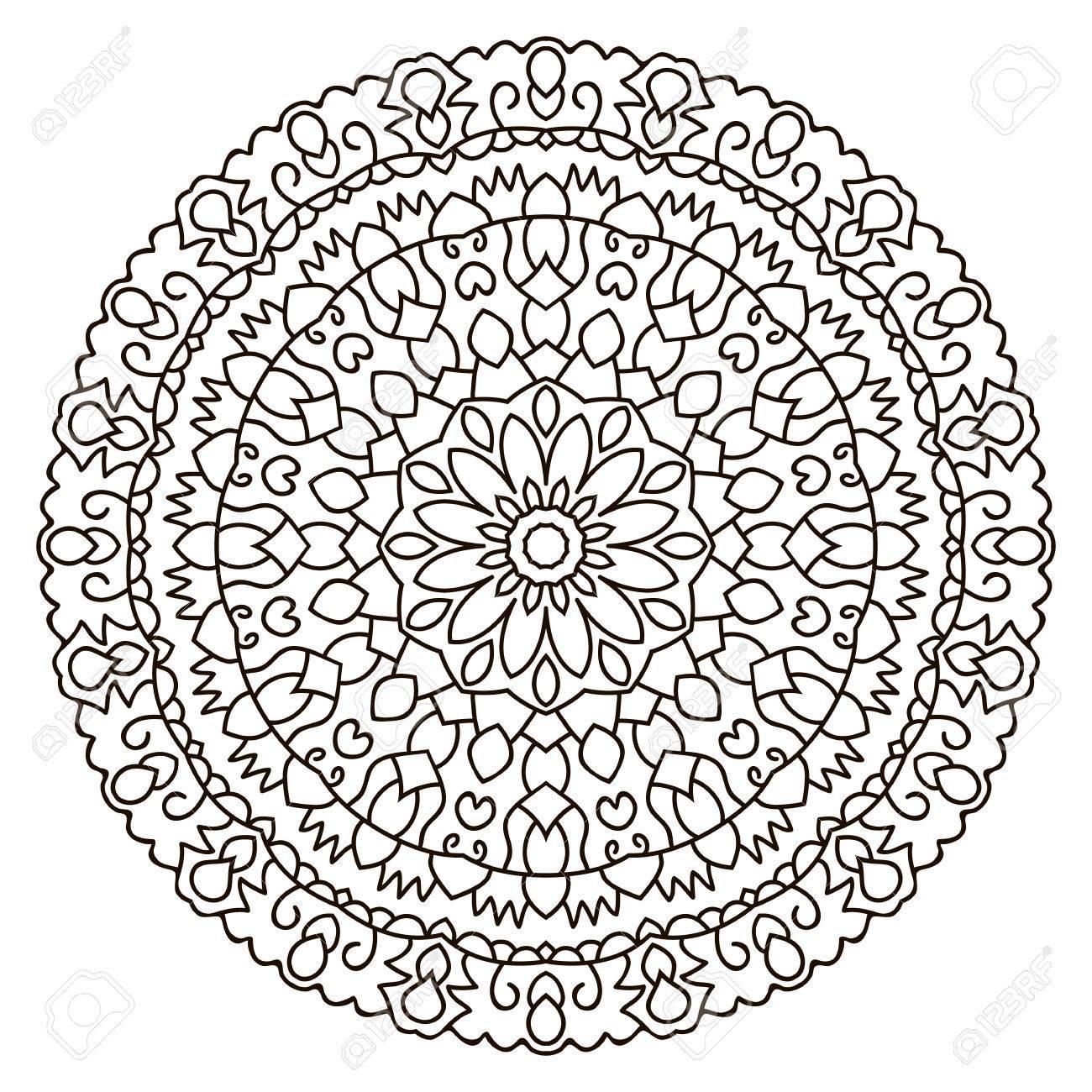 Symmetrical Circular Pattern Mandala Oriental Pattern Coloring - Circle-pattern-coloring-pages