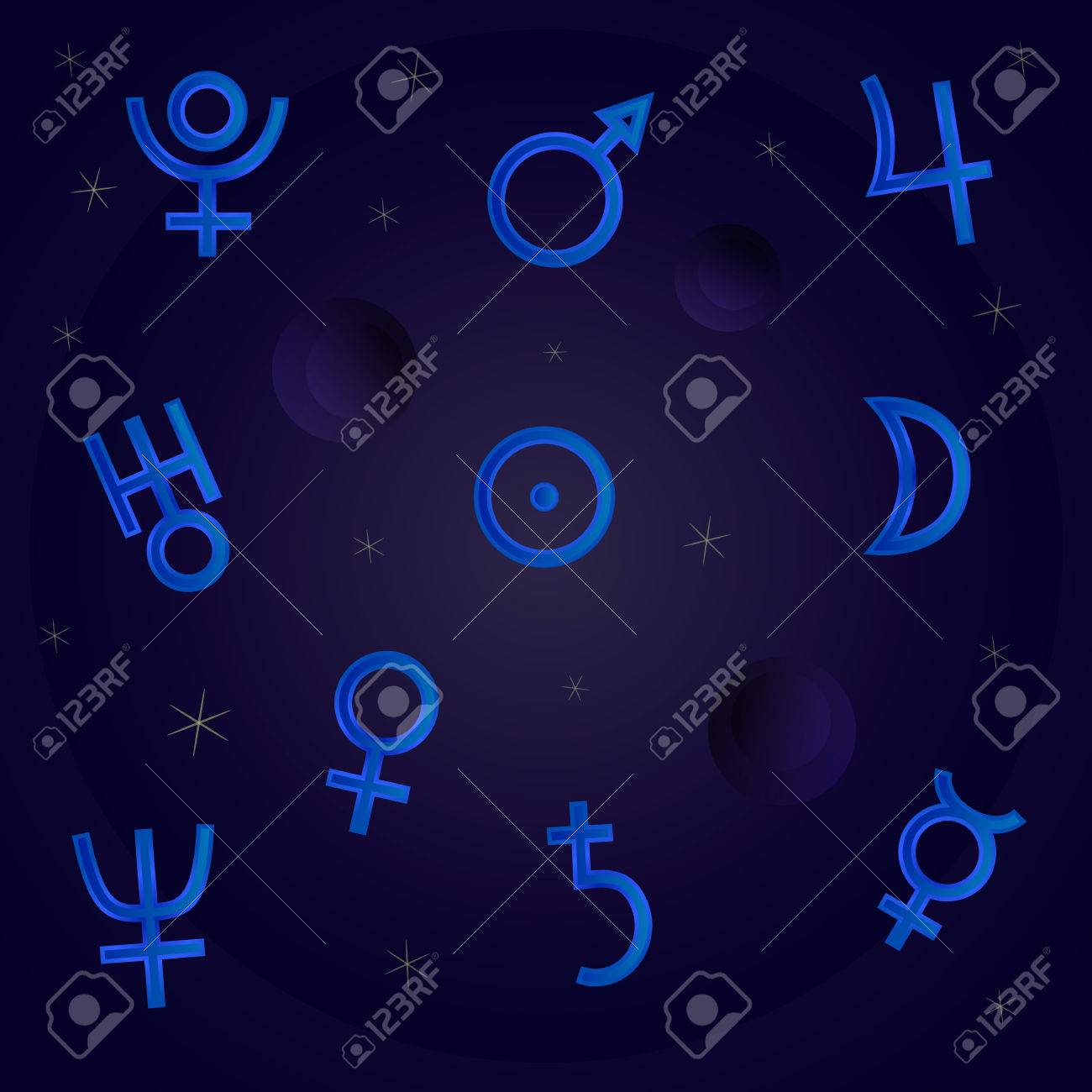 Symbols Of The Planets In The Night Sky With The Stars Royalty Free