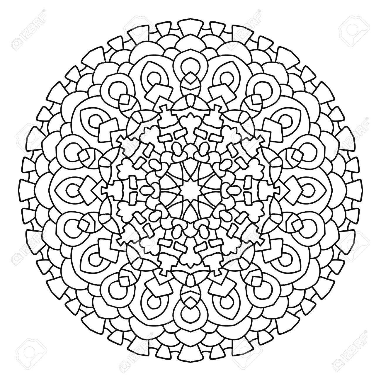 Mandala Ethnique Orientale. Motif Symétrique Ronde. Livre à Colorier ...