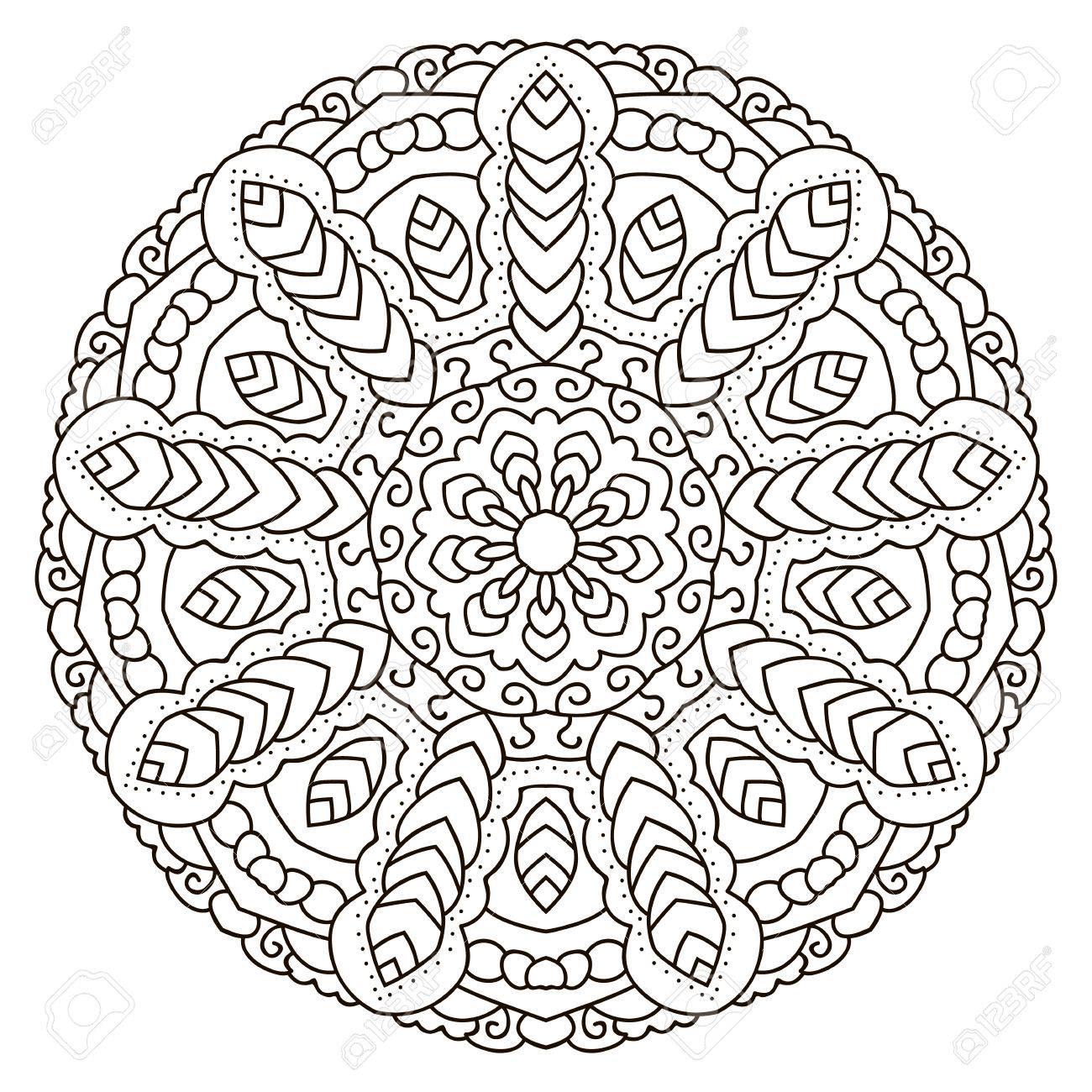 Mandala Para Colorear, Ornamento étnico Circular. Modelo Oriental