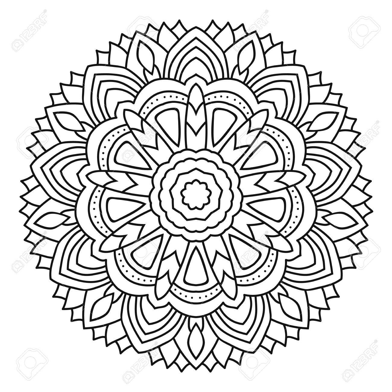 Vector Mandala Coloring Isolated On White Background Royalty Free