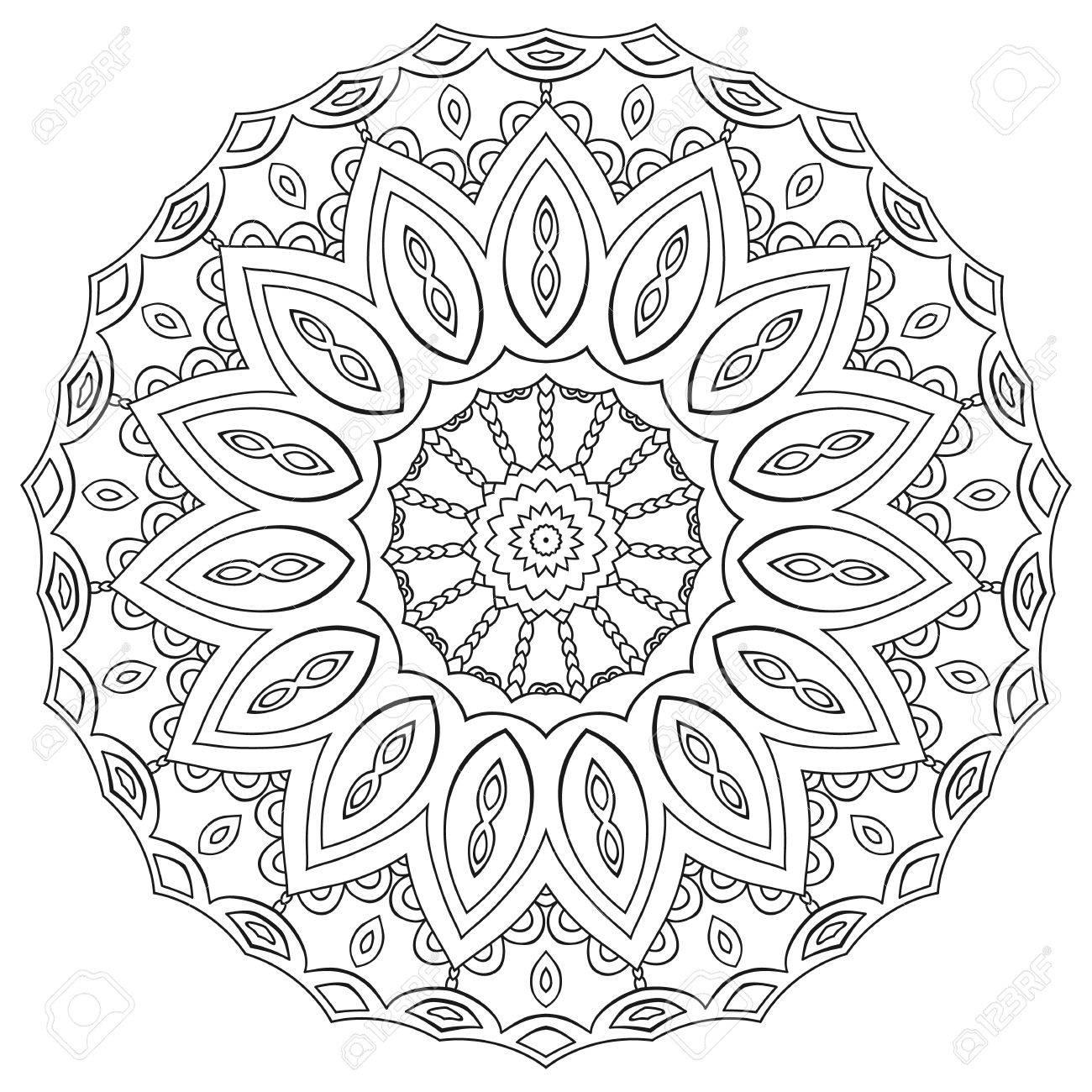 Página Para Colorear Mandala. Ornamento Geométrico Circular