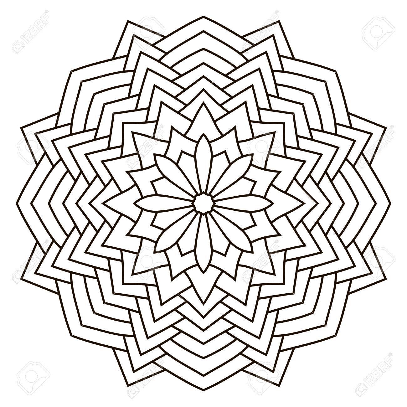 Coloriage Mandala Rond.Mandala Contour Rond Pour Livre De Coloriage Elements Decoratifs
