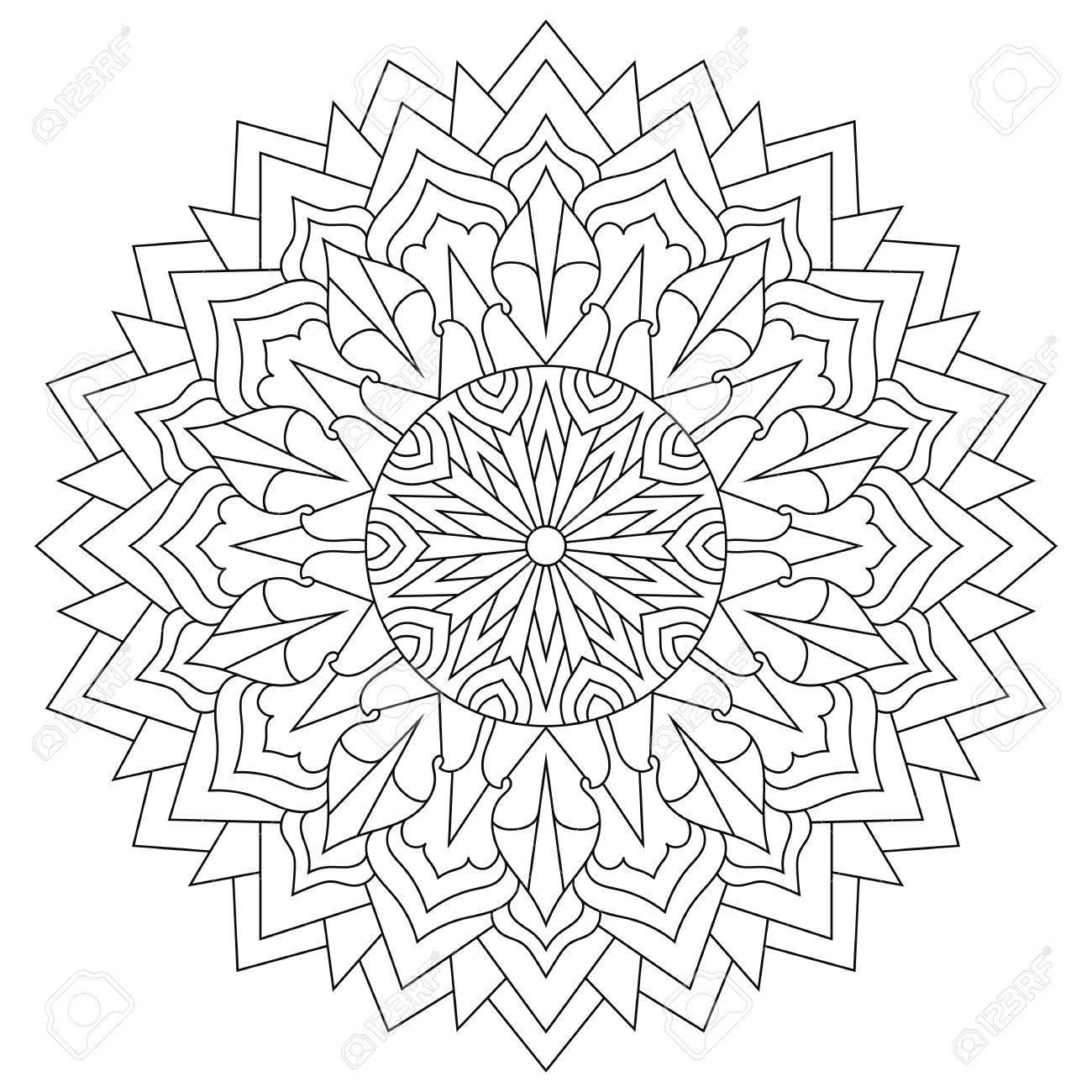 Mandala For Coloring Book, Circular Ethnic Ornament. Round Royalty ...