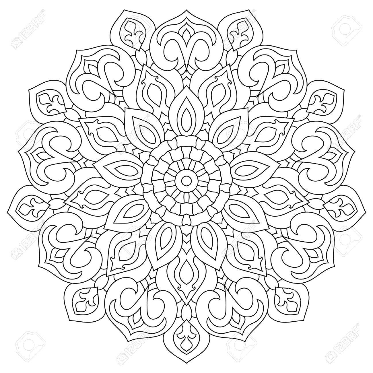 マンダラ塗り絵円形民族飾り用ラウンド の写真素材画像素材 Image