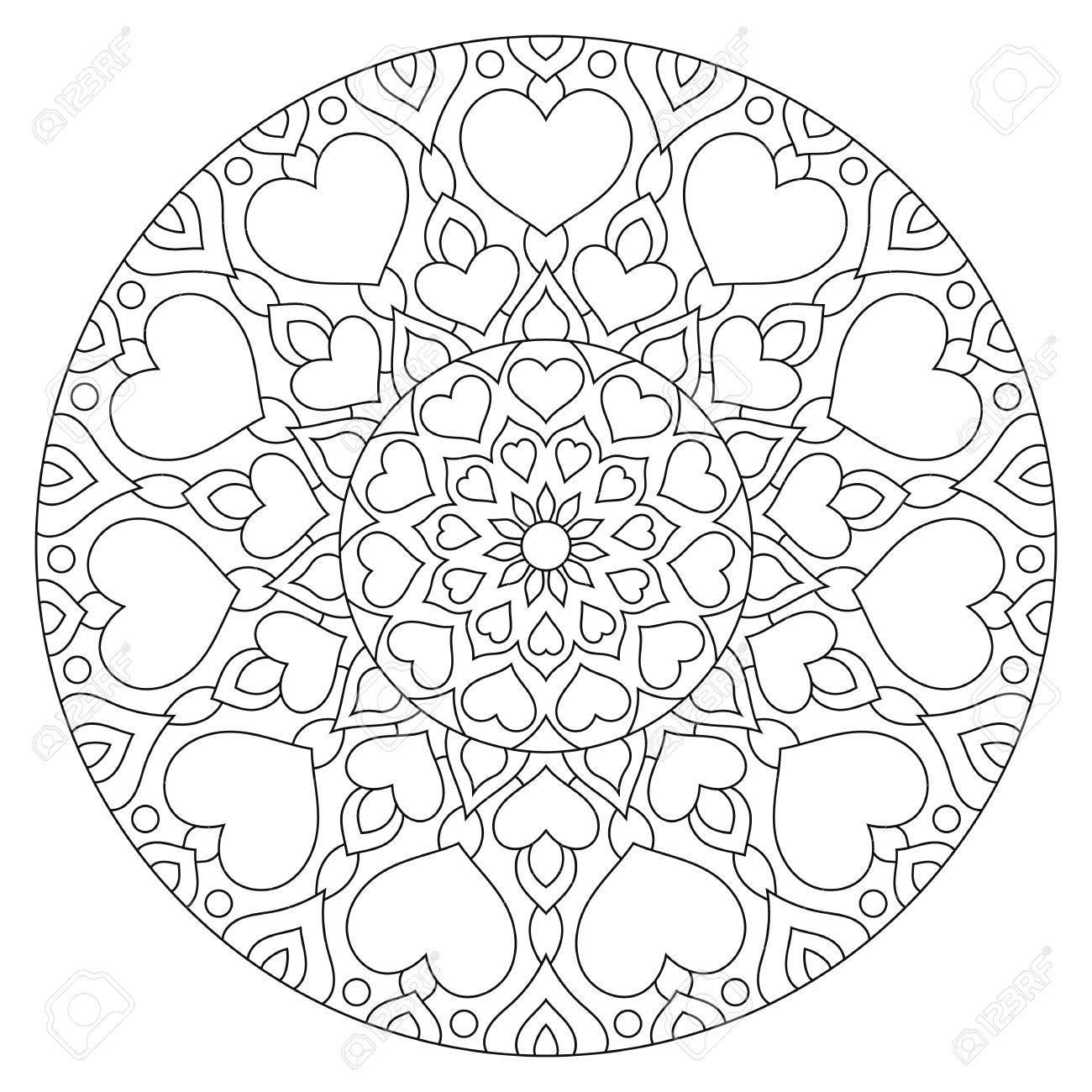 Blumen Mandala Mit Herzen. Malvorlage Für Valentinstag